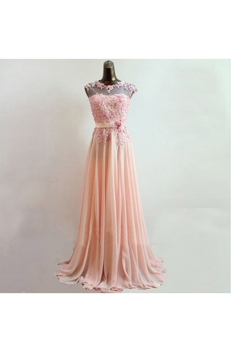 Line strapless floor length chiffon pink prom dress with flower napd0015 sale at shopindress.com