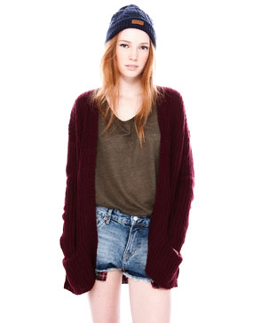 CARDIGAN WITH ARAN KNIT BACK - GRUNGE - WOMAN -  PULL&BEAR United Kingdom