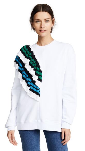 sweatshirt crochet white blue green sweater