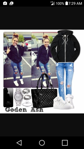 official photos 54ef5 872d0 black hoodie ripped jeans nike air force 1 nike chanel bag black bag outfit