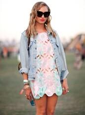floral dress,metallic dress,coachella,dress,floral,spring,festival,cut-out,daisy,flowers,pink,blue,cut-out dress,pastel,jacket