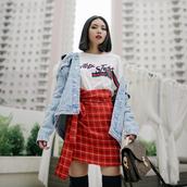skirt,tumblr,mini skirt,wrap skirt,red skirt,tartan,plaid skirt,top,jacket,denim jacket,denim,t-shirt,white top,red,short sleeve,black