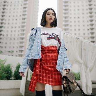 skirt tumblr mini skirt wrap skirt red skirt tartan plaid skirt top jacket denim jacket denim t-shirt white top red short sleeve black