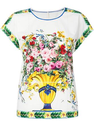 top women floral white cotton print