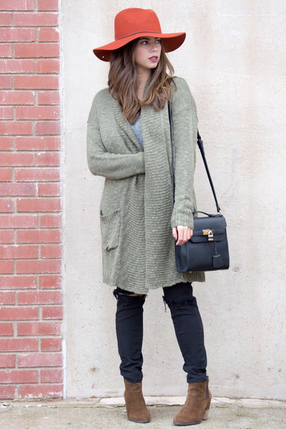 cardigan sweater cardigan winter cosy style long sleeves fashion olive green winter sweater winter style fedora boots pockets black pants knitted cardigan knit bohemian tumblr outfit outfit fall outfits winter outfits winter swag purse streetstyle blogger
