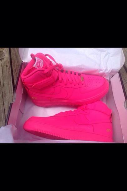 shoes hot pink nike sneakers nike air force 1 wheretoget. Black Bedroom Furniture Sets. Home Design Ideas