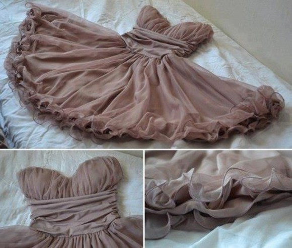 dress brown dress taupe sweetheart neckline caged sweetheart dress cute dress ruffled dress short dress pink ruffled dress