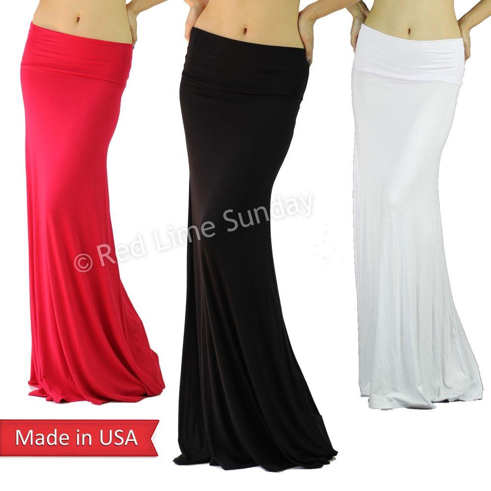 Elegant Solid Color Foldover Jersey Cotton Feel Full Length Long Maxi Skirt Plus