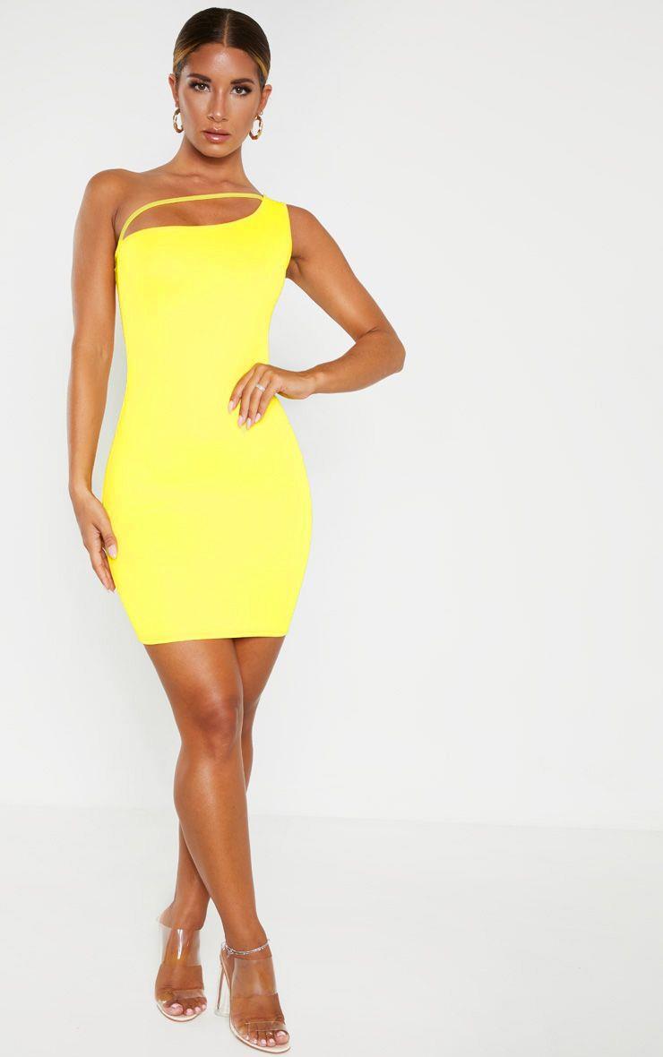 Yellow One Shoulder Strap Detail Bodycon Dress