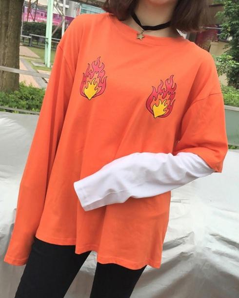 Blouse tumblr tumblr clothes orange t-shirt - Wheretoget