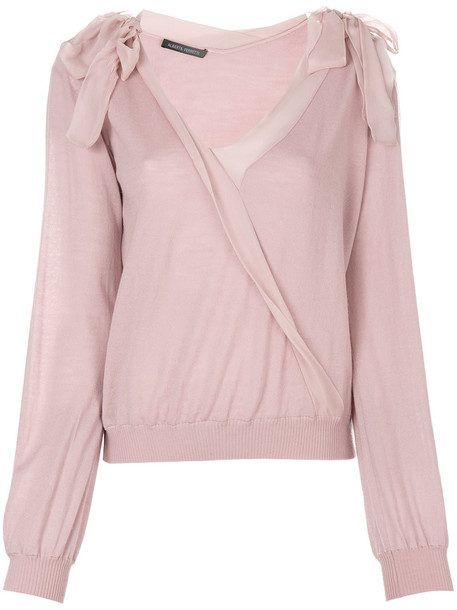 Alberta Ferretti top wrap top bow women silk wool purple pink