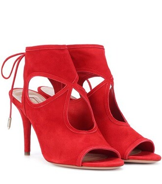 sexy sandals suede red shoes