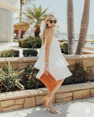 dress tumblr midi dress white dress ruffle ruffle dress bag clutch sandals sandal heels high heel sandals sunglasses shoes
