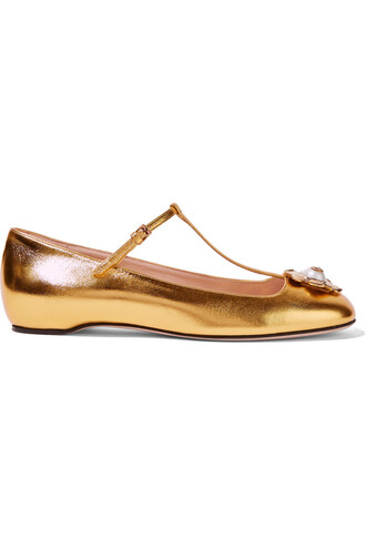 metallic ballet embellished flats ballet flats leather gold shoes