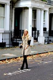 krystal schlegel,blogger,trench coat,beige,clutch,coat,dress,bag,shoes