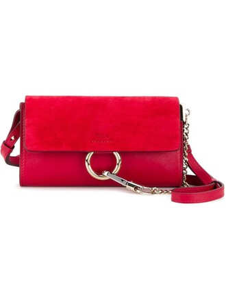 metal women bag leather suede red