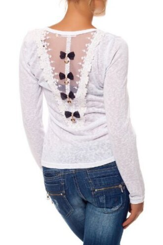 top white bow long sleeves cute girly fall outfits winter outfits fashion style casual