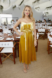 dress,velvet,velvet dress,blake lively,sandals,gold,midi dress,cannes,velvet slip dress,gold dress,ruffle,ruffle dress,celebrity style,celebrity,earrings