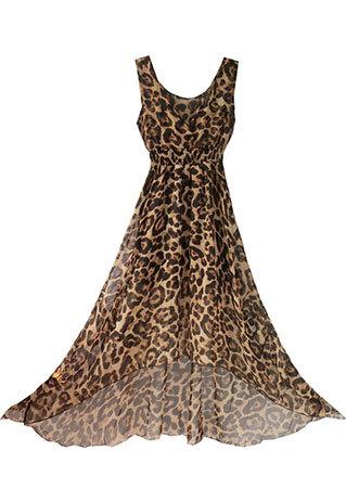 shopbazar shopping mall — [grzxy6601698]Low Cut V Neck Leopard Print Sleeveless Maxi Dress