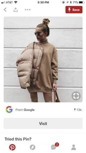 dress,sweater dress,sweatshirt dress,tan,camel,mock neck