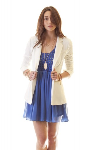 Ruched sleeve single button blazer white