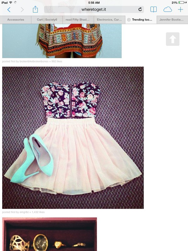 dress heels skirt crop tops floral pink