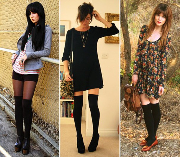 9ea2cb643 dress floral dress socks knee high socks blue dress blue shirt black dress  striped shirt jewels