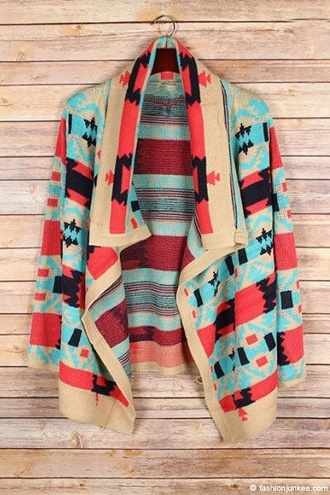 cardigan thick tribal aztec print cardigan sweeter coral aqua blue taupe