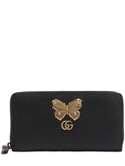 GUCCI, Butterfly zip around leather wallet, Black, Luisaviaroma