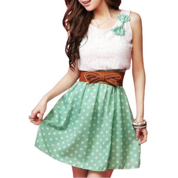 dress mint bow tie cute belt polka dots