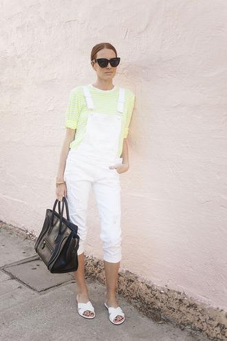 could i have that blogger denim overalls striped top celine bag birkenstocks