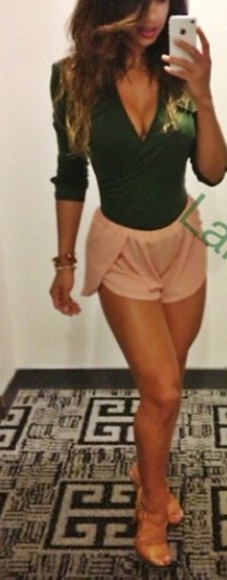 wrap shirt green top vneck lowcut shorts pinkshorts