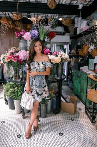 extra petite blogger skirt sunglasses shoes off the shoulder floral dress blue dress mini dress white bag wedges sandals