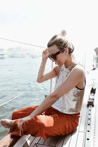 pants gold top tumblr red pants pajama style top sequins gold sequins sequin top sunglasses bracelets gold bracelet jewels jewelry gold jewelry spring outfits