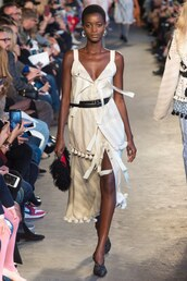 dress,asymmetrical,runway,Paris Fashion Week 2017,model,midi dress,plunge dress,altuzarra