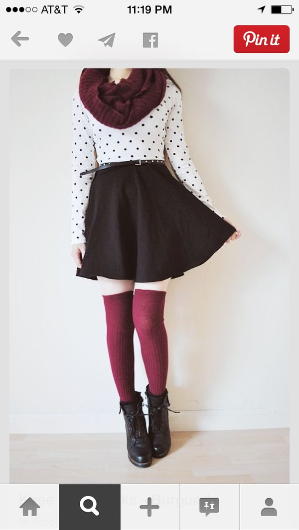scarf blouse kawaii polka dots