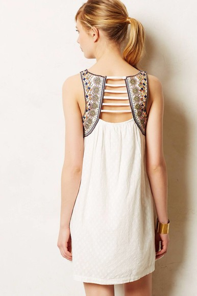 white aztec dress white dress summer dress