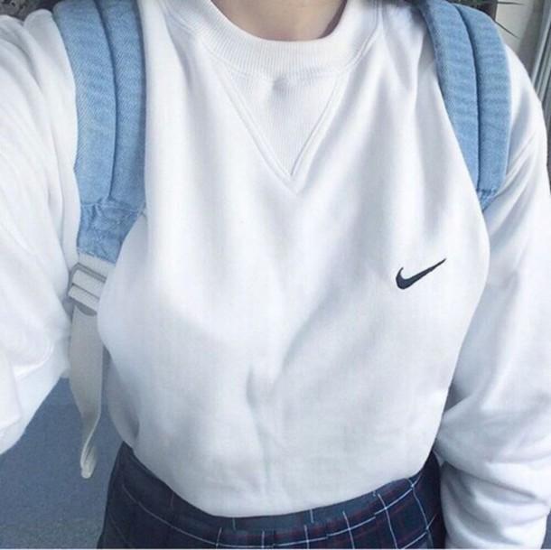 Sweater Nike White Aesthetic Aesthetic Tumblr Asian