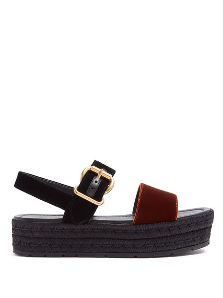 Prada sandals flatform sandals velvet black orange shoes