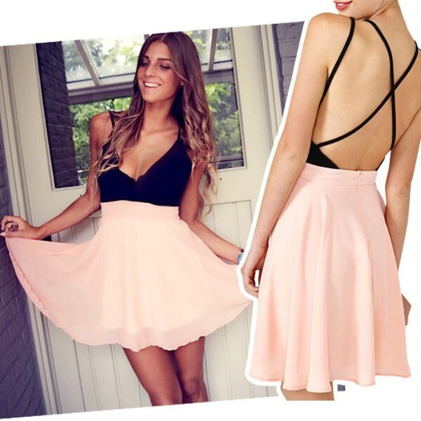 dress fashion style v neck dress hot pink dress party dress