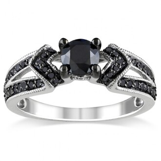 jewels ring women fashion rings black diamond ring engagement ring promise ring black diamond engagement ring white gold engagement ring silver ring sterling silver engagement ring evolees.com