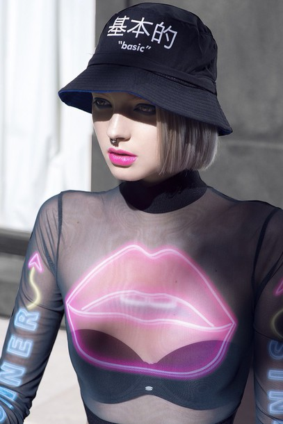 top lips bucket hat dope cute shirt winter swag pink lipstick neon mesh hat