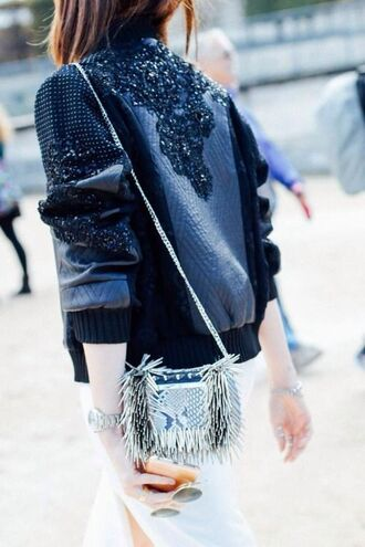 jacket blue bomber jacket bejewelled jacket bejewelled bomber jacket bomber jacket embellished jacket aviator sunglasses crossbody bag white skirt bejewelled embellished leather jacket
