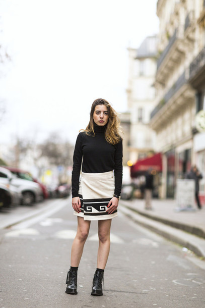 sarah co mode ton look blogger asymmetrical black and white skirt shoes