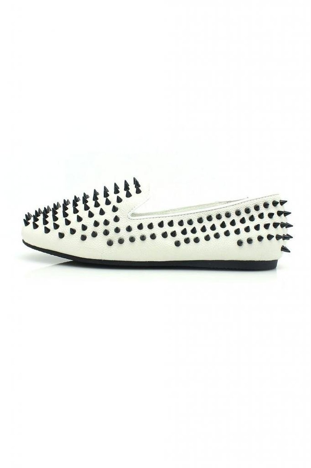 Amazon.com: unif womens hellraiser white leather black spikes loafers flats shoes 5: shoes