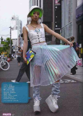 kawaii grunge kawaii dark kawaii skirt soft grunge holographic jeans jewels platform shoes top fashion hat pastel pants