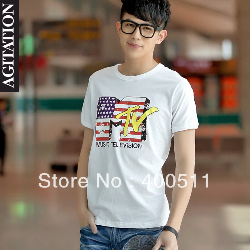 Free shipping men's 100% cotton short sleeve round neck T shirt letter mtv 2013 p 10-inT-Shirts from Apparel & Accessories on Aliexpress.com