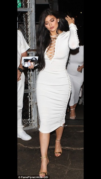 dress kylie jenner midi dress white dress