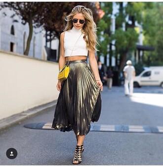 shirt fashion girl girly summer dress summer summer top summer outfits sunglasses metallic pleated skirt date outfit
