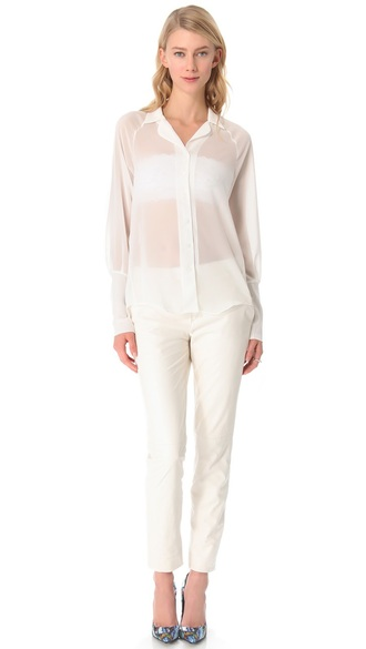 blouse sheer white sheer sheer blouse sheer collar shirt